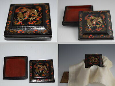 Early 19C Japanese Lacquerware FLYING DRAGON & CLOUDS Incense Container Kogo 168