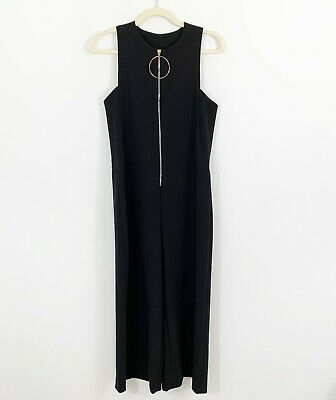 NEW Zara Woman Black Wide Leg Jumpsuit Size Small Sleeveless Front Exposed Zip