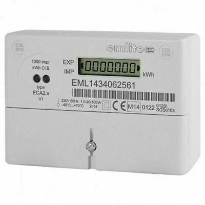 Emlite  Eca2 100A Electric Meter Kwh Single Phase  Pulsed Output Mid Rhi