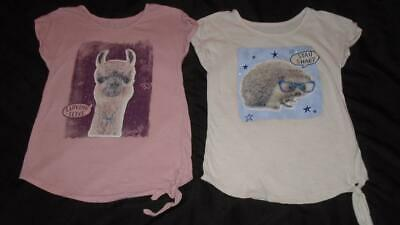 Lot of Girls Size 8 Justice Shirts Furry Llama and Hedgehog Short Sleeve