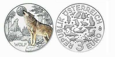 Moneda De 3 Euros Austria 2017 Criaturas Coloreadas,  Lobo, Escasa
