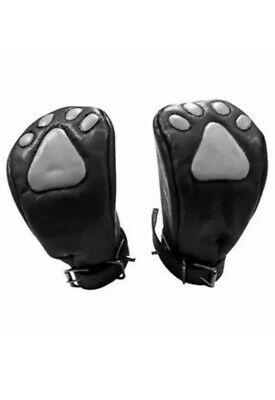 Genuine Leather Padded Paw Logo Mitts Fists Gloves Lockable
