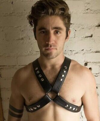 Genuine Black Leather & Steel Chains Men,S Adjustable Chest Body Harness