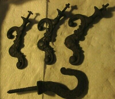 4 Antique Vintage Ornate Cast Iron Eastlake Victorian Hooks coat ceiling