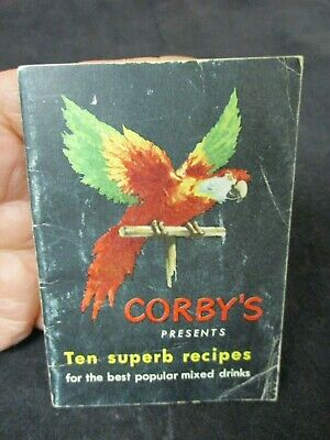 Vintage Corby's Whiskey Bartender Bar  Guide Cocktail Recipe Premium Booklet