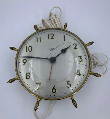 Vintage Smiths Sectric Electric Wall Clock Brass Ships Wheel Spares  & Repairs