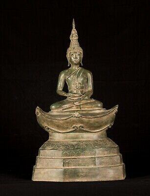 Antique Laos style Seated Bronze Meditation Buddha Statue - 53cm/21""