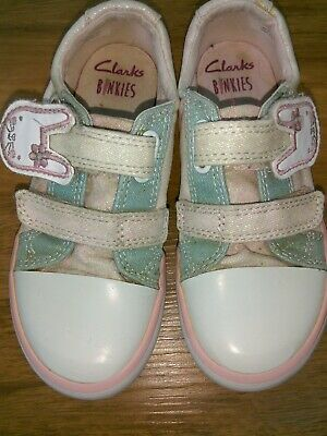 Clarks Doodles girls white canvas casual trainers shoes size 8.5 8 1/2 E