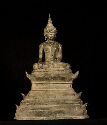 Buddha - Antique Laos Style Seated Bronze Enlightenment Buddha Statue - 53cm/21""