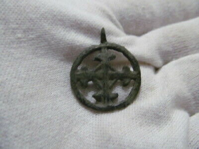 "Ancient bronze pendant ""Cross in circle"" Kievan Rus Vikings 10-13 AD № 662/2."