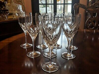 """Set of 8, Gorham Diamond Clear Water Goblets Glasses feather cuts 8 3/8"""""""