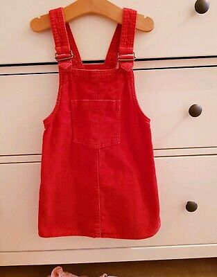 Girls Next Red Cord Pinafore Dress, Age 3-4 Years