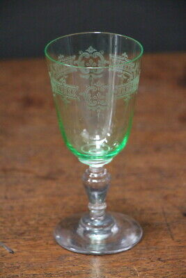 Edwardian toasting glass antique engraved green bowl and elegant stem hand blown