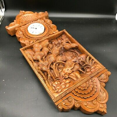 Vintage Large Hermle Carved Wooden African Wall Clock Indian Elephants Rare