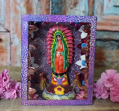 Our of Guadalupe Retablo Nicho Handmade & Hand Painted Puebla Mexican Folk Art