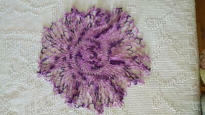 "Vintage 14"" Hand Crocheted Twotone Purple Round Doily, No Stains, No Defects, No"