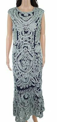JS Collections Womens Gown Green Navy Blue Size 12 Soutache Keyhole $300- 363