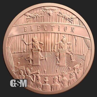 """ELECTION   Copper Round Coin  /""""Freedom From Tyranny/""""  CRESCENT CITY 5 oz"""
