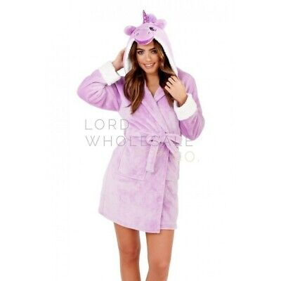 Ladies Novelty Fleece Dressing Gown Hooded Bath Robe New Girls Animal Print Cat