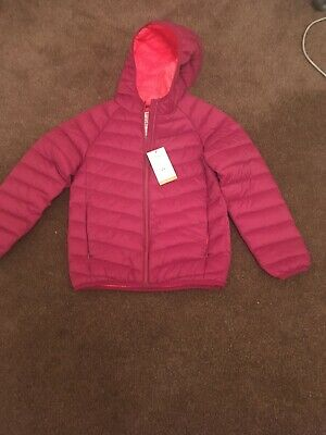 M&S Girls Age 9-10 Years Dark Burgundy Lightweight Jacket Coat with hood Bnwt