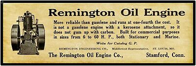 """1910 Remington Oil Engine Co. New Metal Sign: 6 x 18"""" Stamford, Connecticut"""