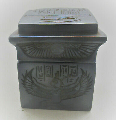 Beautiful Old Antique  Egyptian Black Stone Glaze Safebox Box With Heiroglyphics