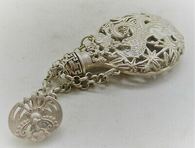 Lovely Antique Chinese Post Medieval Silver Snuff Bottle