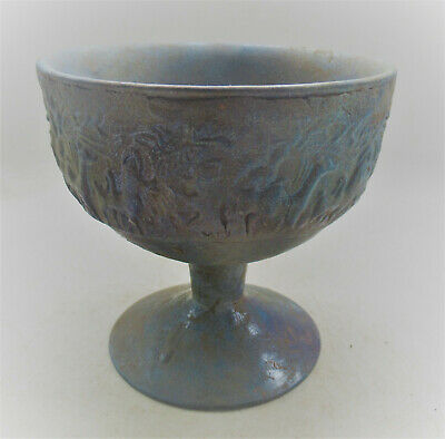 Very Rare Ancient Persian Iridescent Glass Chalice Depicting Scenes 300Bce