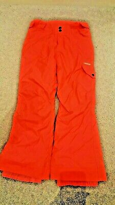 Decathlon girls ski trousers salopettes neon coral pink age 6