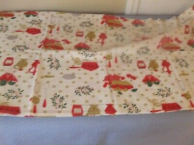 Tablecloth Vintage Square White Cotton with Kitchen Items & Fruit #64TC