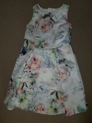 Bnwt Next Girls Satin Floral Print Bridesmaid/Prom/Party Dress - Age 11 Years
