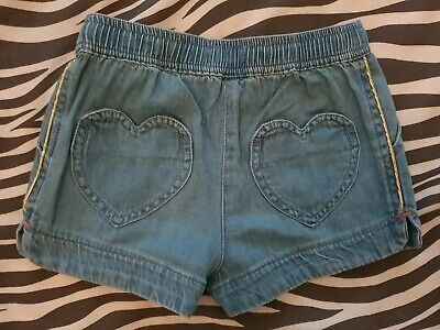 MINI BODEN Girl Heart Pocket shorts Age 6y Blue with gold