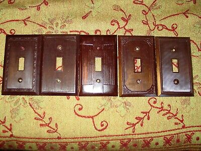 5 Vintage Chocolate Brown Bakelite Wall Toggle Light Switch Plate Cover Lot USA
