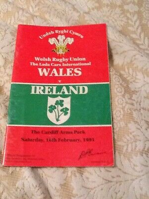 Wales v Ireland Rugby Union Programme 16/02/91