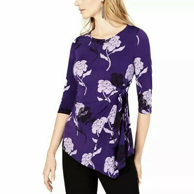 Alfani Womans Purple Floral Print Tie Side Top Size XL New Without Tags
