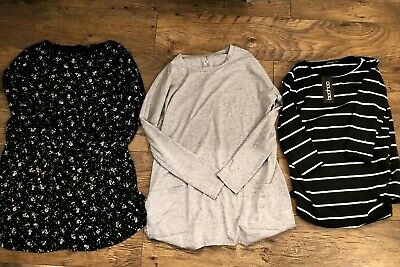 Maternity Bundle - Boohoo - Size 12 Long Sleeved Tops Floral Grey Stripe - 2 new