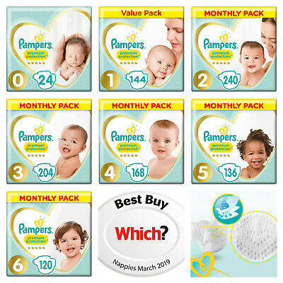 Pampers Premium Protection Saving Value Pack New Baby Nappies Size 0,1,2,3,4,5,6