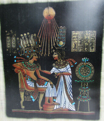 Egyptian Papyrus Paper Painting King Tut Queen Nefertari black bkgd Ra framed