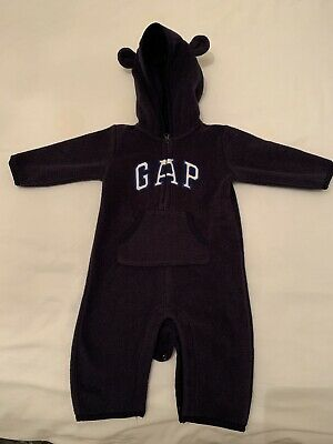 Baby Gap Boys 3-6 Months All In One Fleece with hood Navy Blue