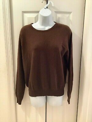 CHARTER CLUB Womens Large Sweater Top Brown 100% Cashmere Pull Over Long Sleeves
