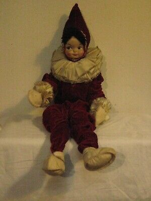 """VINTAGE 1950's 16"""" POSEABLE JESTER CLOWN DOLL BENDABLE BODY--GREAT CONDITION!"""