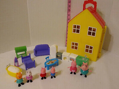 Peppa Pig Toy Lot, Deluxe House Playset, Figures, Accessories