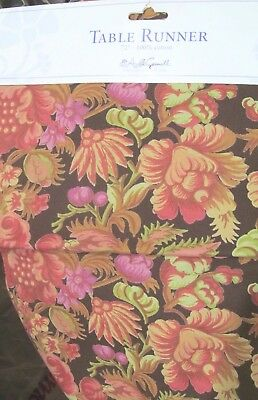 "April Cornell Fall / Autumn Floral Table Runner 13"" x 72""   NEW"