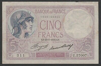France 1933 banknote French Franc 5f