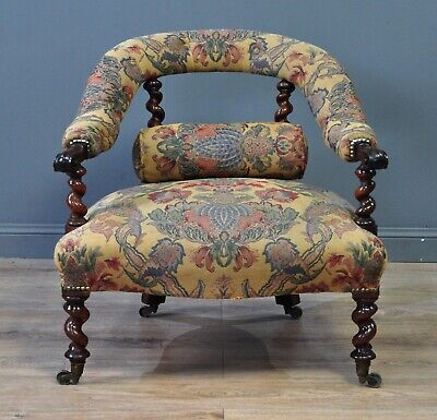Attractive Antique Rosewood Upholstered Fireside or Bedroom Armchair Chair