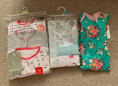 BNWT Girls Baby Grows & Long Sleeved Vests 9-12 Months Boots Sainsburys Tesco