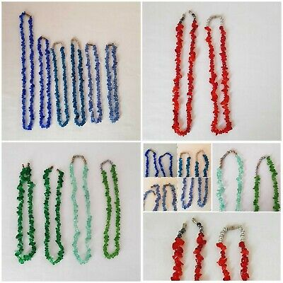 12 Mixed Stone chips Barrel Sccrew Clasp Necklaces