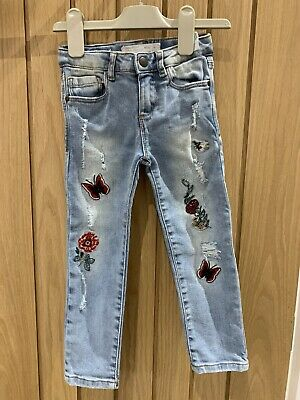 Girls Zara Jeans Age 4 Blue Skinny Embroidered Stunning Trendy