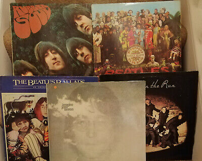 Joblot 5 x The Beatles & related LP records inc Sgt. Peppers Rubber Soul Imagine