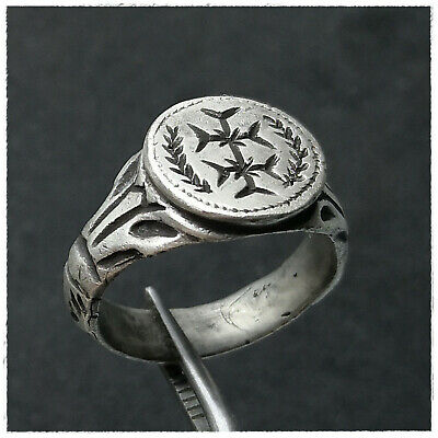 """ DOUBLE CROSS ""  ANCIENT  SILVER BYZANTINE RING!!!! 9,95g"